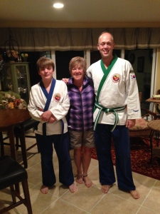 Gates and Steve in their Karate outfits
