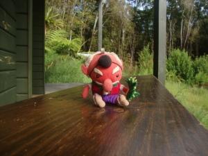 Tengu loves the huts too!