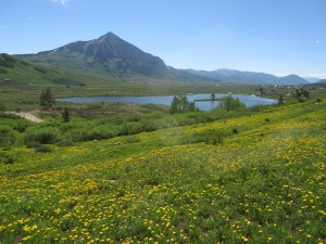 That's Crested Butte Mountain, Peanut Lake, and the Town of Crested Butte