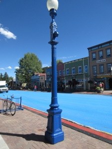 They actually painted the light posts, bike racks, and street BLUE