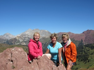 On top of Hasley Pass with Joni and Dianne