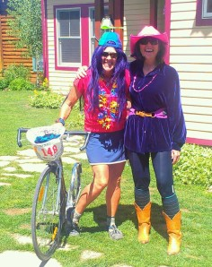 """Joni and I are dressed up to participate in """"Bridges of the Butte"""" - a 24 hour bike ride (I used my kick-bike) to raise money for Adaptive Sports"""