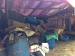 All their belongings have to be under tarps