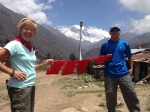 Red Lady Prayer Flags and Everest