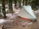 A hailstorm late in the afternoon - good thing I already had my tent up!