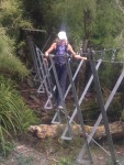 Heather even stopped on a 3 wire bridge and did some yoga stretches!